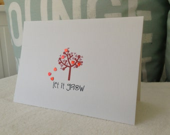 Anniversary cards . Love cards - Valentine's day card . Valentine Card - Tree of love  - Love growth