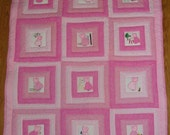 New Hand Quilted Sunbonnet Sue Crib Size Quilt, Machine applique and embroidery Sunbonnet Sue, Shades of Pink