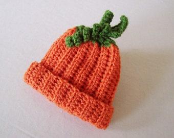 Kid's Ribbed Pumpkin Hat - Toddler, Child - Pumpkin Orange, Kelly Green - Fall, Harvest, Halloween
