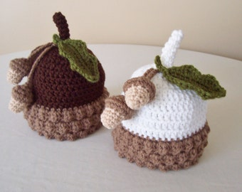 Baby Acorn Hat - 0 to 3 Months, 3 to 6 Months, 6 to 12 Months - Brown, White - Fall, Harvest, Oak, Winter Acorn