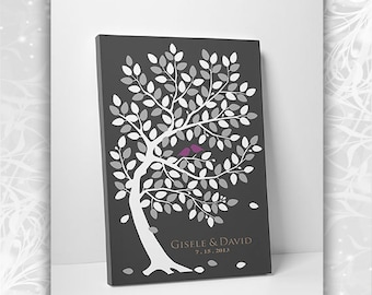 Wedding Guest Book Alternative - Canvas Guest Book Tree - 55-250 Guests - 16x20, 20x30 or 24x36 - Canvas Promo
