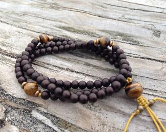 Tiger Eye and Bone Adjustable Prayer Bead Mala  Wrap Bracelet B011