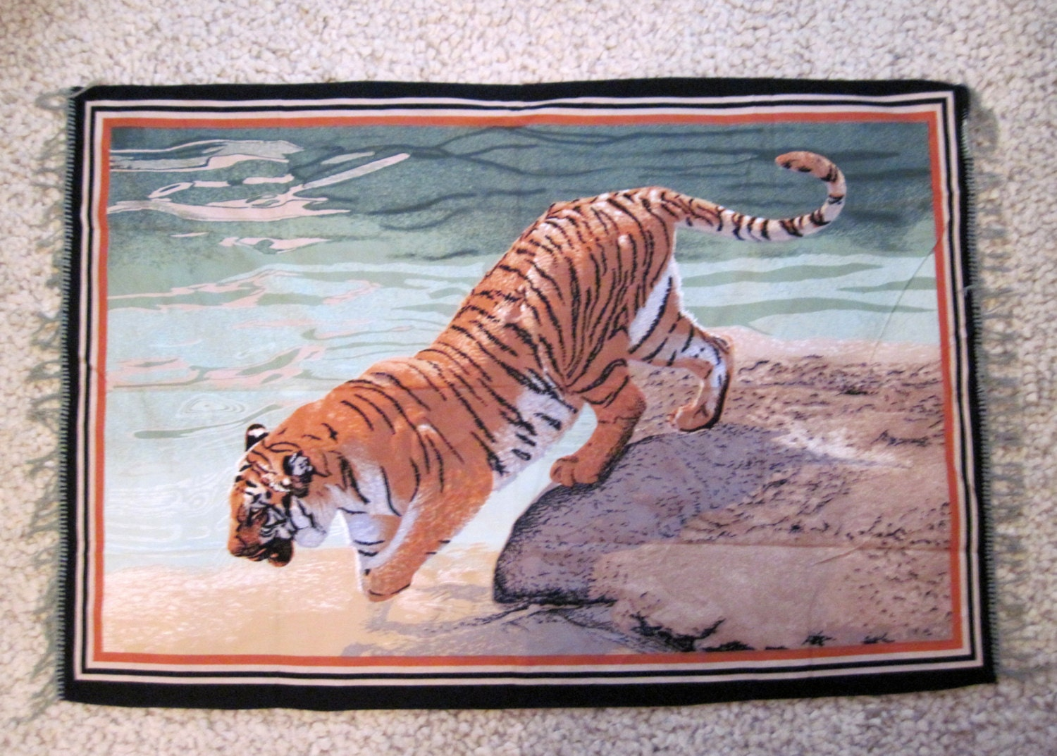 Vintage Large Size Wall Hanging Rug Tiger Tapestry Picture