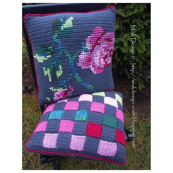 Crochet cushion covers with Rose embroidery and Weaved stripes-Instant Download PDF Pattern