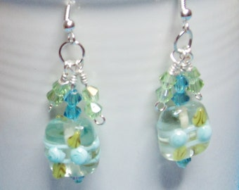 Lampwork Yellow, White, Turquoise Bead with Turquoise Swarovski Turquoise Beads on .925 Sterling Silver Ear Wires
