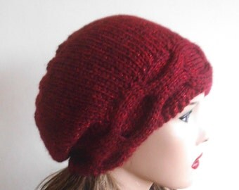 Cherry Red Woman Wool Hat. Slouchy Hat. Hand Knit Hat. Winter Woman Hat. Oversized Beret.