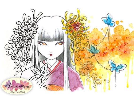 Digital Stamp - Chrysanthemum Festival - Instant Download - Japanese Girl in Kimono Fantasy Line Art for Cards & Crafts by Mitzi Sato-Wiuff