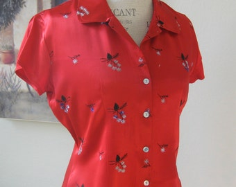 Silky Red Asian Inspired Blouse