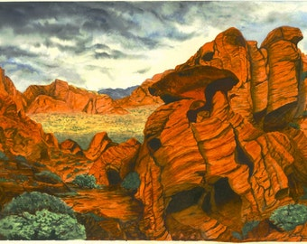 Desert Southwest Landscape Painting, Print from Original Watercolor, Valley of Fire Nevada 10.5x15 Decor