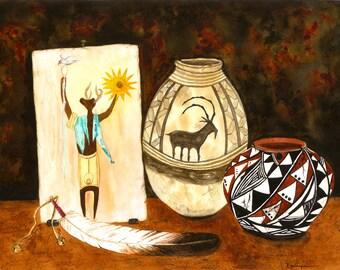Native American, Pottery, Shaman, Award Winning, Southwest Print of Original Watercolor Painting 10.25x14.25 Home & Office Decor Petroglyph