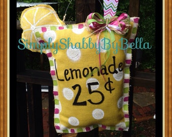 Summer Burlap door hanger/ cute Lemonade drink