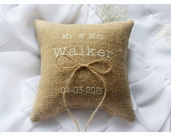 Burlap Wedding pillow , Mr & Mrs wedding pillow , ring bearer pillow, ring bearer pillow with Custom embroidery (R58)