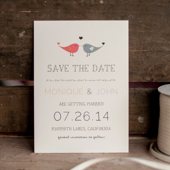 Romantic Save the Date, Save the Date card - The Lovebirds - save the date postcard, vintage, rustic save the date, postcard, eco friendly