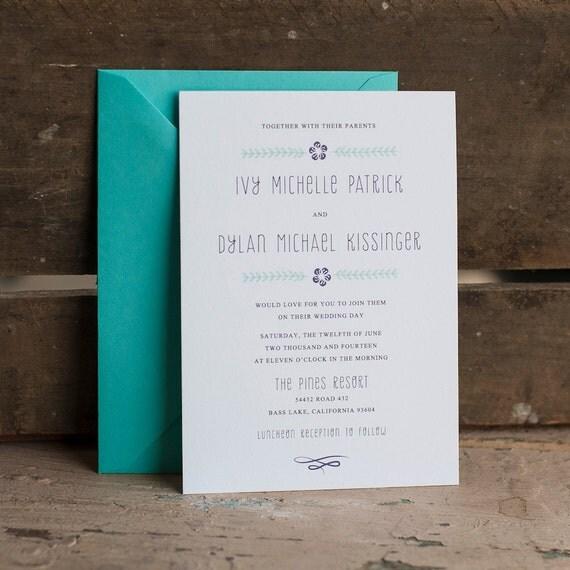 Wedding Invitation, Rustic Wedding Invitation, Floral Wedding Invitation, flower wedding invitation, aqua wedding invitation unique The Ivy