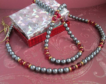 Gray Pearls Cranberry and Gold Beads add Pizazz to Your Wardrobe