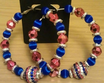 Love and Hip Hop and Basketball wives inspired hoop with red and blue beads