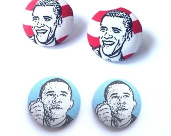 Obama Fabric Button Earrings
