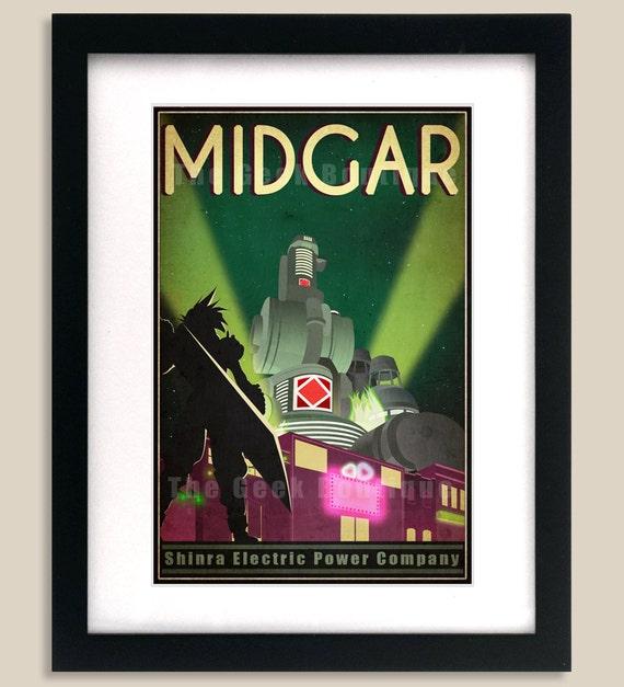 12x18 Final Fantasy 7 Inspired - MIDGAR Retro Tourism Print Poster