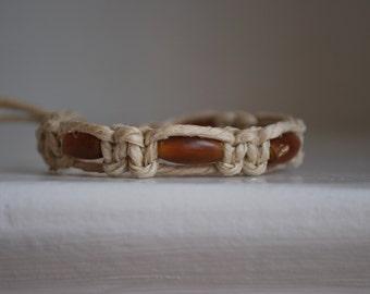 Red Bone Beaded Natural Hemp Bracelet
