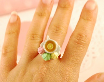cup of tea  ring -tea cup ring - cup ring - food jewelry - ceramic jewelry