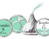 108ct - Kisses Stickers - Bridal Shower Stickers Labels Birthday Party Baby Shower Wedding Bat Mitzvah Tiffany blue