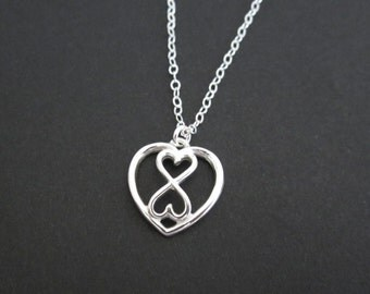 Infinity Necklace. Sterling Silver Infinite Heart. Flower Girl Necklace. Double Heart Infinity Pendant. Best Friend Necklace. Bridal Jewelry