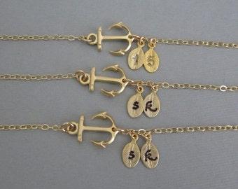3 Bracelet Set: THREE Personalized Gold Anchor Bracelet. Gold Filled Jewelry. Encouragement Gift for Best Friends. 3 Sisters Bracelet Set.