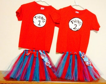 inspired thing 1 and 2 set with shirts tutus and free headbands thing 1 2 halloween - Thing 1 Thing 2 Halloween Costume