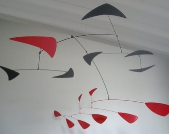 Andromeda mobile, large metal Calder-style, powder coated aluminum and steel