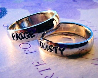 "Personalized Ring, Engraved Ring, Personalized/Engraved Ring "" Wedding Band Style"", name Ring, Class Ring WBSS02"
