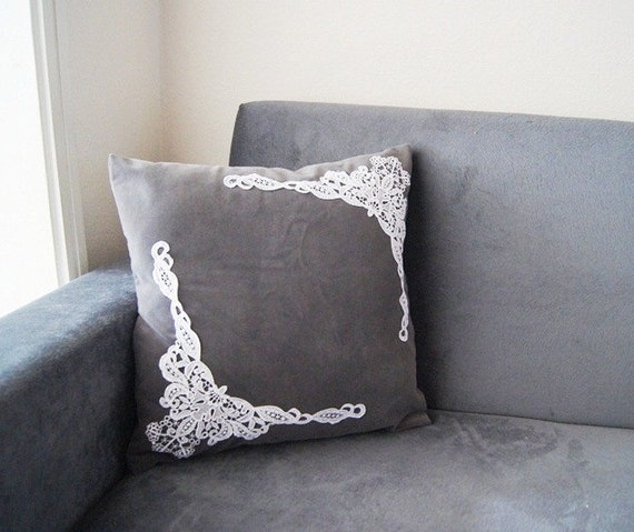 Lace Throw Pillow Covers : PILLOW / Grey Pillow Cover Lace Throw Pillow Pillow Cover