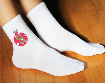 Monogram Christmas Ornament Socks - Personalized Set of 3 Ladies Crew Socks