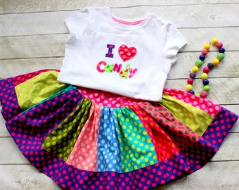 Candy birthday outfit for toddler baby girls. Rainbow I love Candy skirt set. Polka dot skirt with matching shirt. Size 2t 3t 4t 5 6 8 10 12