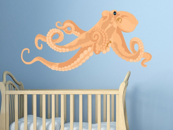octopus vinyl wall decal by walljems wall decals. Black Bedroom Furniture Sets. Home Design Ideas