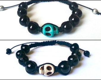 SKULL Shamballa Bracelet with Glossy Beads for men and women, guy and girl adjustable & stackable Lusnyak