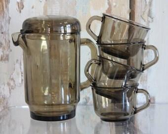 Smokey Glass Coffeepot / Teapot Set