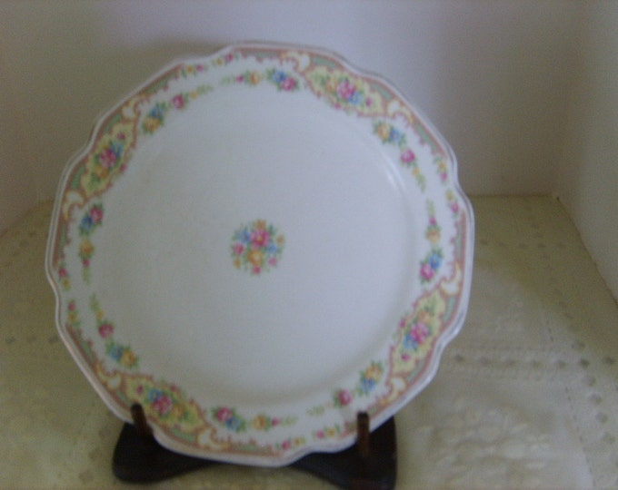 Gold edged large white side plate , detailed flower border, hand painted, Edwardian look, replacement piece, 9 inches, vintage pattern