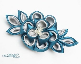 Turquoise and Gray Kanzashi Flower Hair Clip