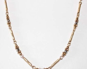 Italy Barrel Beaded Station Necklace 14k two tone gold Necklace - 18 inch long - SKU: 7323