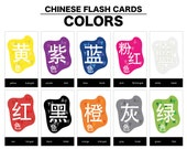Mandarin Chinese Flash Cards - Colors in Simplified Characters / English / Pinyin - 4x6