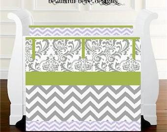 Girl Nursery Bedding Baby Bedding Crib Set -Gray Damask/Lime and Purple Chevron