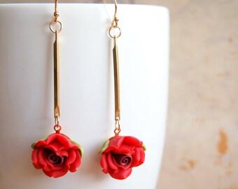 Rose Dangle Earrings, Red Rose Earrings, Gold Dangle Earrings, Rose Drop Earrings, Woodlands Jewelry, Wedding Earrings