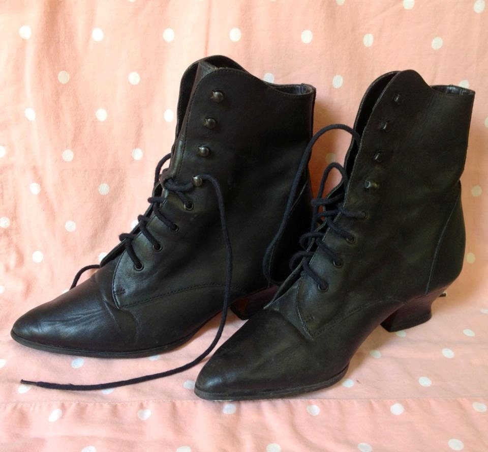 80 s witch boots black lace up leather size by thecosmiccircle