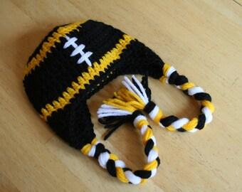 Pittsburgh Steelers Earflap Hat - Crochet Baby Hat - Newborn Photo Prop
