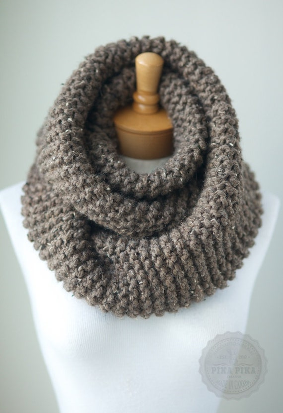 Knitting Pattern For Chunky Infinity Scarf : Chunky knit scarf in Taupe Tweed knit infinity by PikaPikaCreative