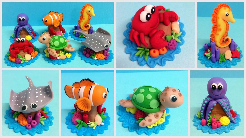 Fondant Sea Animals Cupcake Toppers Turtle Sting Ray Fish