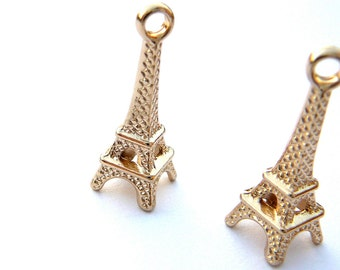 Rose Gold Plated 3D Eiffel Tower Charm- 1 piece