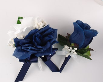 set of 2pc: Boutonniere and Pin Corsage Navy Blue White.Wedding,Prom