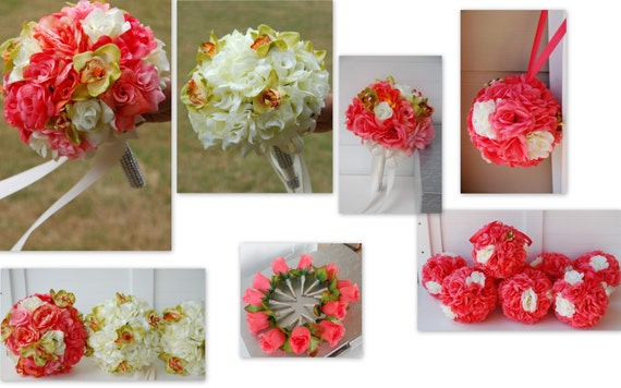 Set of coral rose orchid kissing ball wedding bridal