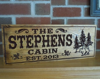 Personalized Wooden Carved Last Name Cabin Sign Rustic Distressed Hunting Camp Custom Engraved Tree Bear Image Camping sign Pine 307